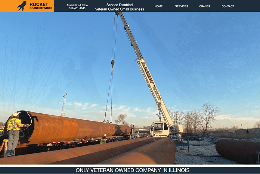 Rocket Crane Service website